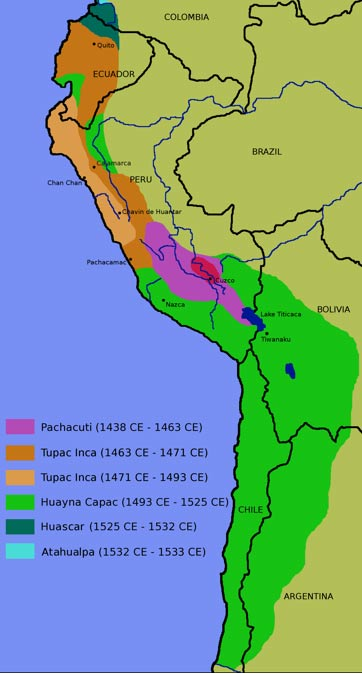 The Inca Empire; note the vibrant green color to the south, which the Inca invaded in the late 15th century.