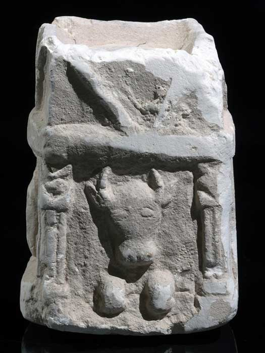 Incense altar bearing the carved image of a bull as found at the Horvat 'Amuda site (Image: Clara Amit, Israel Antiquities Authority)