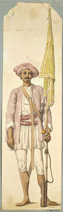 Indian soldier of Tipu Sultan's army, using his rocket as a flagstaff, by British artist Robert Home. (Public Domain)
