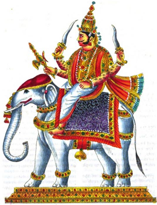 Indra with his thunderbolt, Vajra riding on his elephant, Airvata. E. A. Rodrigues - The complete Hindu Pantheon.(1842) (Public Domain)