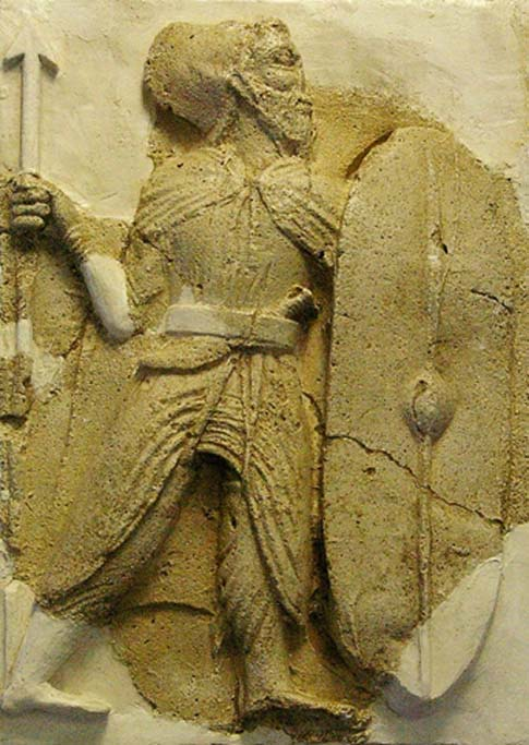 Infantry soldier, from the Iranian Parthian Dynasty (247 BC - 224 AD