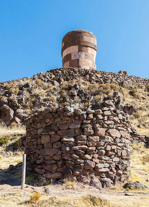 Inka burial tower of obviously inferior quality below older, more advanced chullpa.