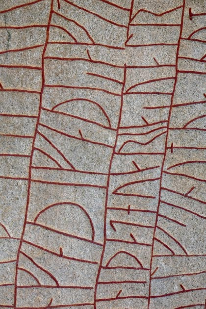 Inscription on the Rok Runestone. Credit: thomasmales / Adobe Stock