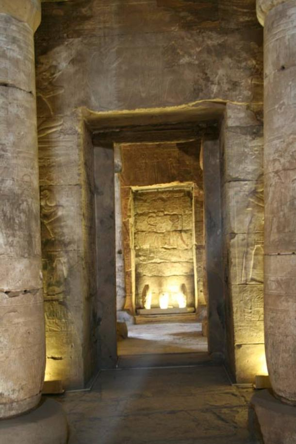 A view down the axis of the hypostyle hall of the temple of Seti I at Abydos. (ernie /Adobe Stock)