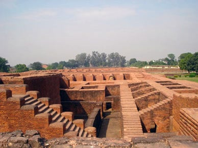Inside the ruins of Nalanda University