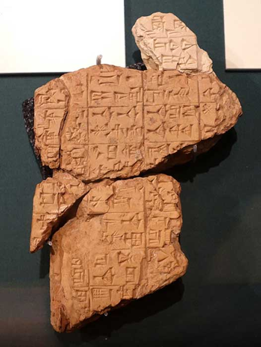 An image showing fragments of the Instructions of Shuruppak (dated to c. 2600 BC — c. 2500 BC).