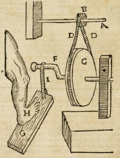 Instrument for cutting stones, illustration from the Gemmarum et lapidum historia by Anselmus de Boodt, 1609, p. 56.