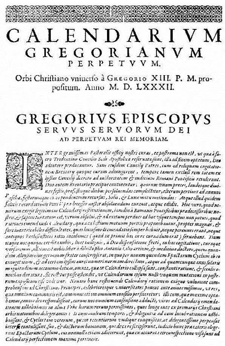 "The first page of the papal bull ""Inter Gravissimas"" by which Pope Gregory XIII introduced his calendar"