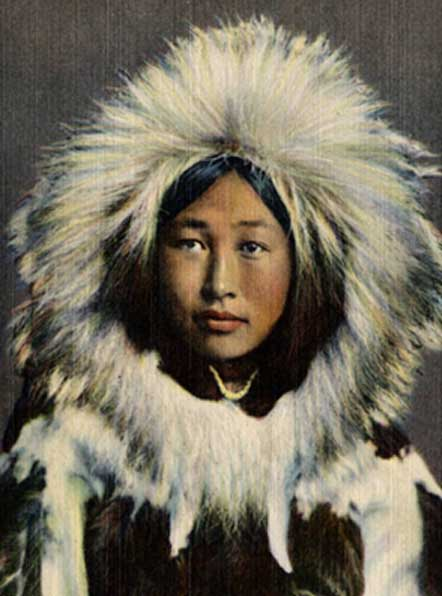 Inuit (Eskimo) woman wearing traditional hooded parka, 1942. (Public Domain)