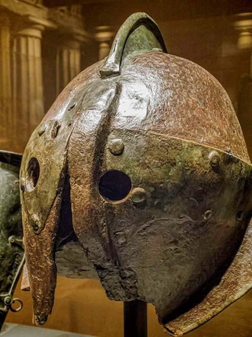 Iron secutor style helmet from Herculaneum, 1st century. (CC BY-NC-SA-2.0)