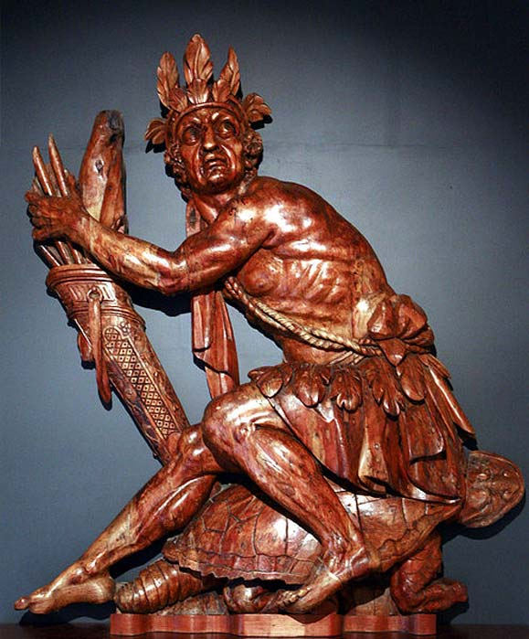 Iroquois man sitting on a turtle, in reference to the Great Turtle that carries the Earth in Iroquois mythology. By the sculpture workshop of Brest, France naval arsenal.