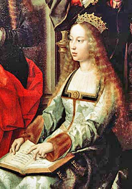 Isabella I of Castile, depicted in the painting Virgen de la mosca at The Collegiate church of Santa María la Mayor