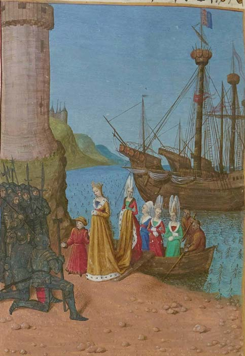 Isabella landing in England with her son, the future Edward III in 1326. (Gallica / Public Domain)