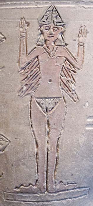"""Detail of ancient Mesopotamian so-called """"Ishtar Vase"""", terracotta with cut, molded, and painted decoration, from Larsa, early 2nd millennium BC."""