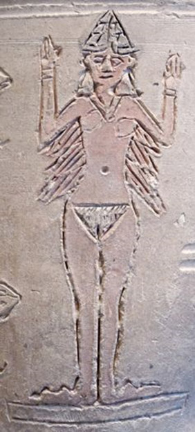 Ishtar, naked on a vase.
