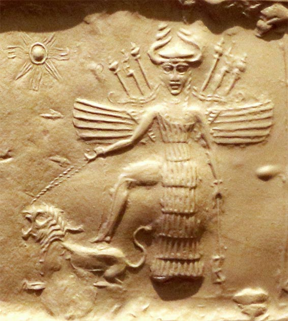 Ishtar as the goddess of war who appeared to the German Knights Templar. She is equipped with weapons in her back, has a horned helmet, and is trampling a lion. Found on an Akkadian Empire seal, 2350-2150 BC. (Sailko / CC BY 3.0)