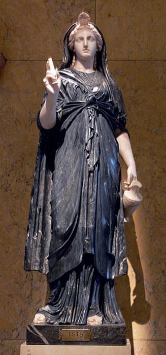 Isis in black and white marble (Roman, 2nd century AD).