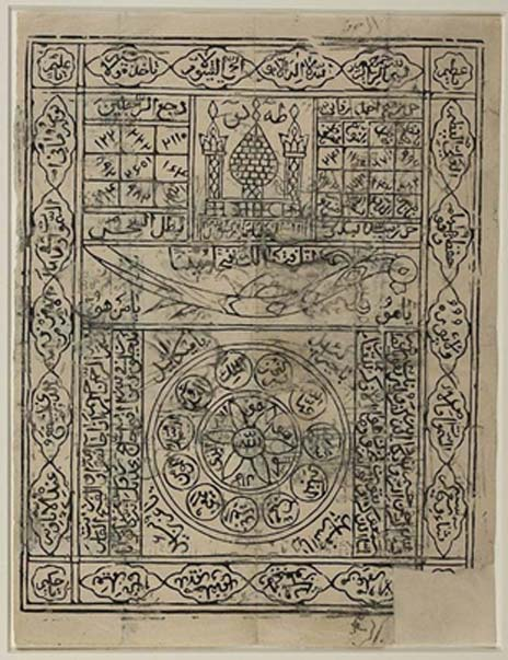Islamic stamped amulet, 19th-century India. Executed on a very thin white paper, the amulet comprises a number of magic squares, Qur'anic verses, and divine or holy names all intended to bring good luck or provide protection to its owner. (Public Domain)
