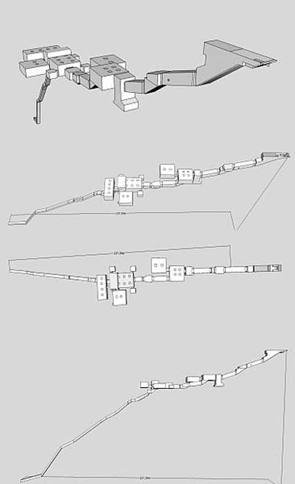 Isometric, plan, and elevation images of KV17.