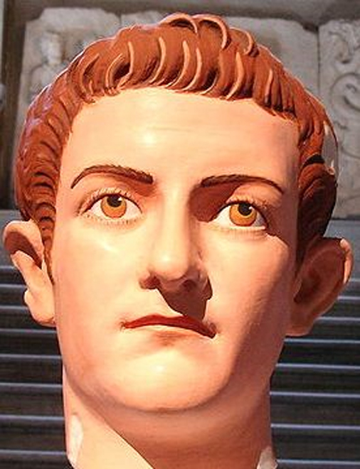 Istanbul Archaeological Museum, room 5 - Reconstruction of the original polychrome of a Roman portrait of emperor Caligula (37-41 AD). (Commons)