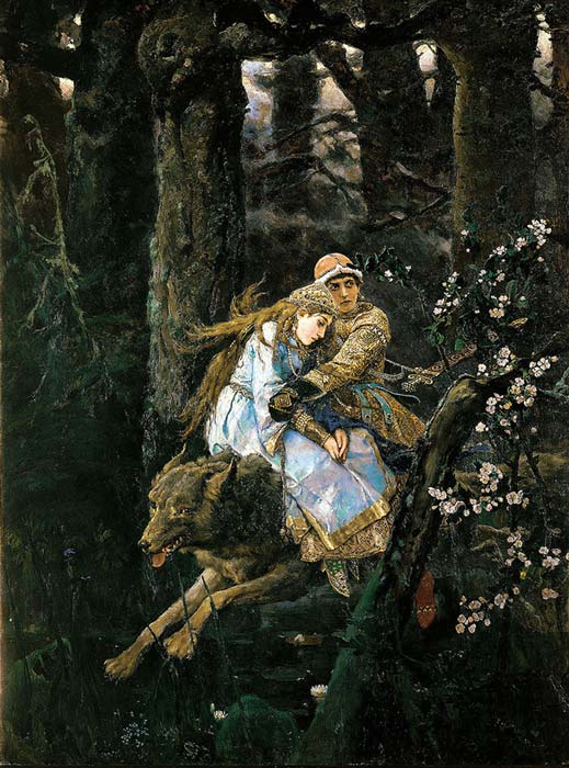 Ivan Tsarevich riding the Gray Wolf by Viktor Vasnetsov, 1889.