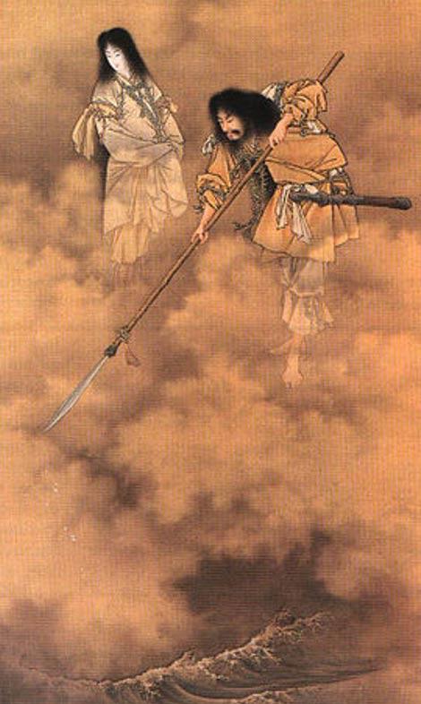 Izanagi and Izanami. Painting by Kobayashi Eitaku, c. 1885.