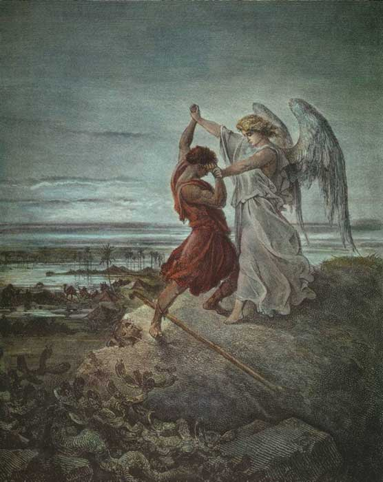 Jacob Wrestling with the Angel, created by Gustave Doré in 1855.