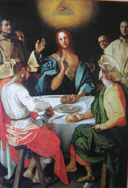 Jacopo Pontormo's Supper at Emmaus, where the Eye of Providence is seen above Christ. (Erick Opena / CC BY-NC-ND 2.0)