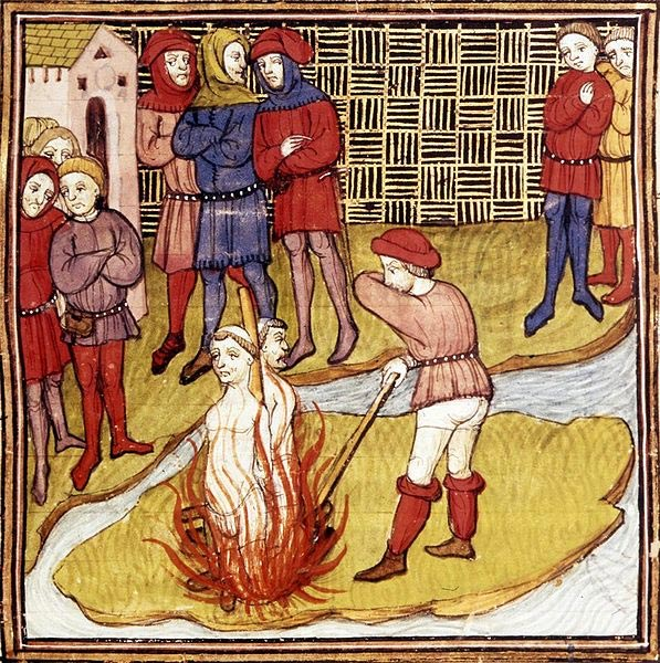 Jacques de Molay sentenced to the stake in 1314, from the Chronicle of France or of St Denis.