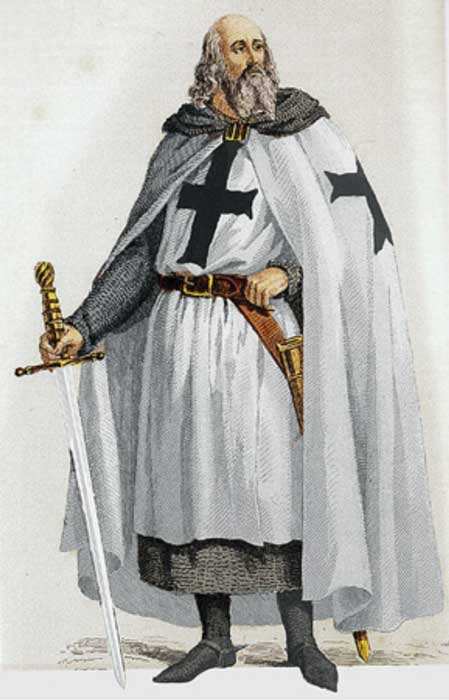 Jacques de Molay, Last Grand Master of the Knights Templar, with sword