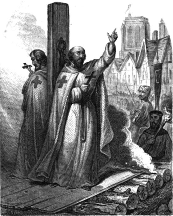 Jacques de Molay's Burning at the Stake. Jules Edouard Alboise du Pujol, Auguste Maquet The Prisons of Europe, Paris, (1845). (Public Domain).