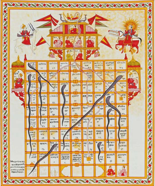Jain version Game of Snakes & Ladders called jnana bazi or Gyan bazi, India, 19th century, Gouache on cloth. (Public Domain)
