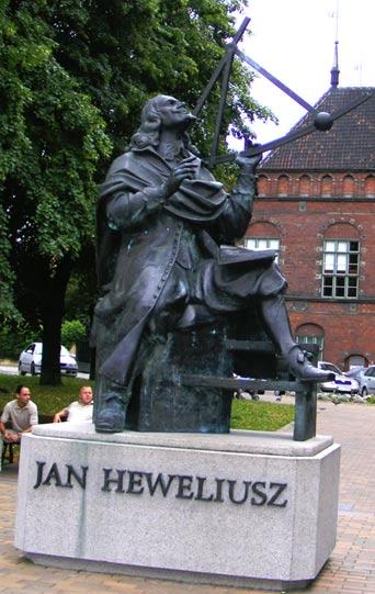 Monument to Jan Heweliusz in modern Gdańsk