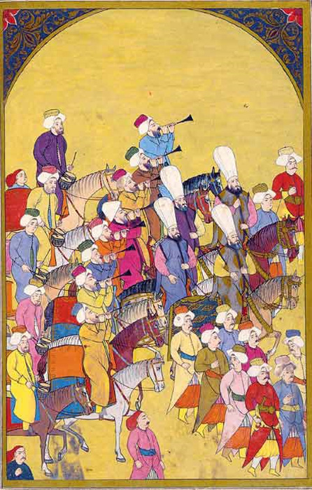 Janissaries marching to Mehter martial tunes played by the Mehterân military band. Ottoman miniature painting, from the Surname-i Vehbi (1720)