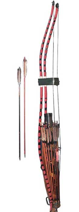 Japanese arrow stand with a pair of Yumi bows. (Rama/CC BY SA 2.0)
