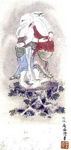 The Japanese form of Ganesha - Kangiten, late 18th-early 19th-century painting by Shorokuan Ekicho.