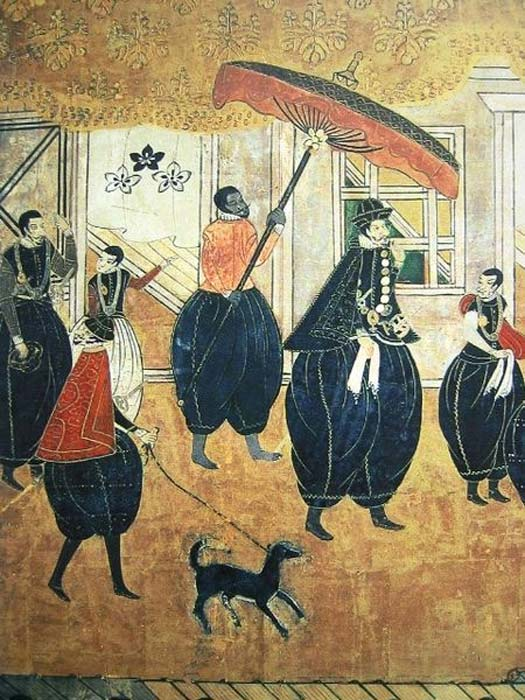 17th century Japanese painting depicting a group of Portuguese foreigners.