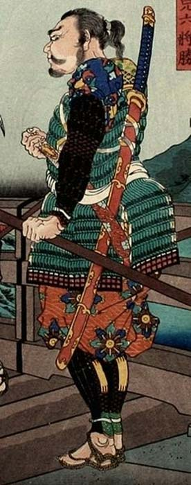 A Japanese woodblock print of Hiyoshimaru who meets Hachisuka Koroku on Yahabi bridge. Cropped and edited to show the ōdachi hanging on his back.