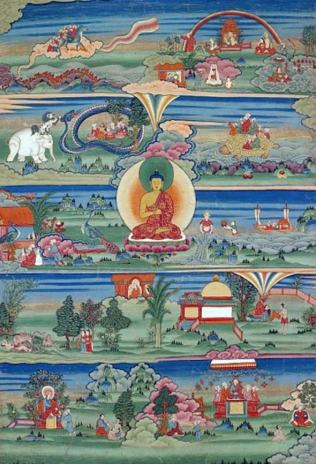 Bhutanese painting of the Jataka Tales, showing reincarnation. Phajoding Gonpa, Thimphu, Bhutan