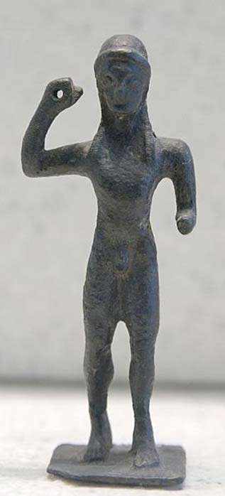 Javelin thrower. Bronze, Laconian style, third quarter of the 6th century BC. From the shrine of Apollo Hyperteleatas at Phoiniki, Laconia.