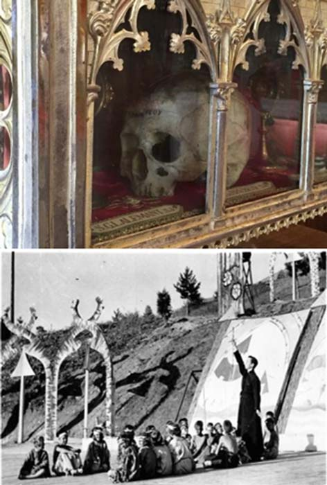 """Top: Jean Breubuf's fractured skull. Bottom: Father Chabanel teaches catechism. """"Salute to Canada"""" pageant, Martyrs' Shrine, Midland, Ontario. (Author provided)"""