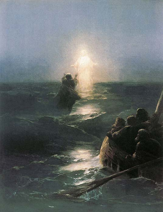 'Jesus walks on water' (1888) by Ivan Aivazovsky. (Public Domain)