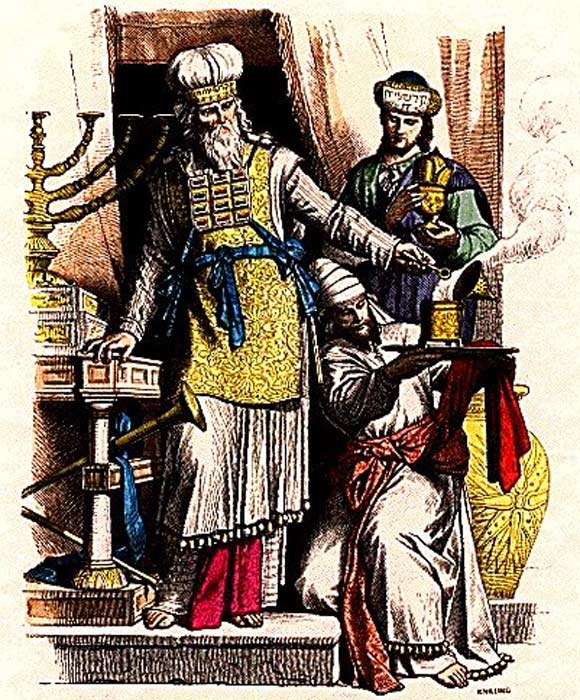 Jewish high priest wearing a hoshen, and Levites in ancient Judah.