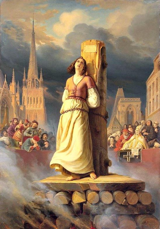 """""""Joan of Arc dies at the stake"""", painted in 1843 by German artist Hermann Anton Stilke (1803-1860). Hermitage Museum, St. Petersburg."""