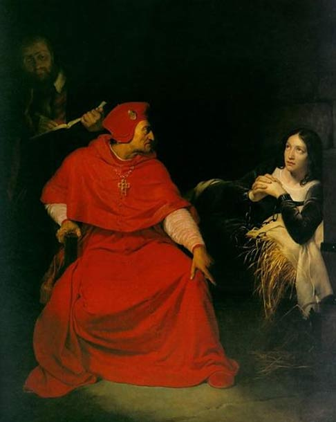 Joan of Arc is interrogated by The Cardinal of Winchester in her prison. (1824) By Paul Delaroche.