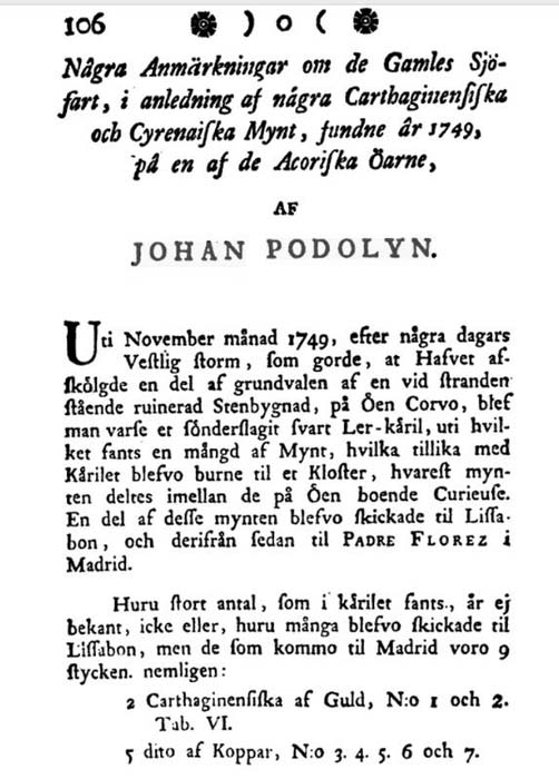 An excerpt from Johan Frans Podolyn's 1778 article in the Publications of the Royal Society of Sciences and Letters in Gothenburg.