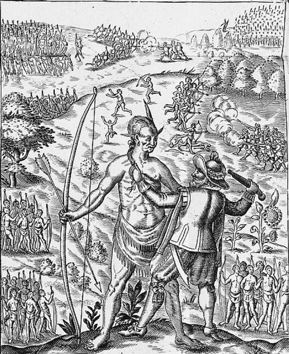 'John Smith taking the King of Pamunkey prisoner', a fanciful image of Opechancanough from Smith's 'General History of Virginia' (1624). (Public Domain)