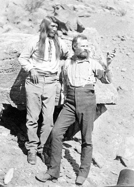 John Wesley Powell with Native American at Grand Canyon Arizona, 1871-74