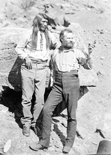 John Wesley Powell with Native American at Grand Canyon Arizona, 1871-74