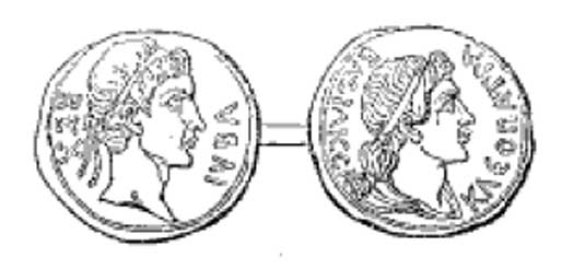 Coin of the ancient kingdom of Mauretania. Juba of Numidia on the obverse, Cleopatra Selene on the reverse.